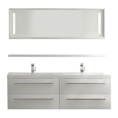 "Aquamoon Magnum 62 3/4"" Double Sink Modern Bathroom Vanity Set, White"