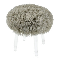Chic Themed Shag Mohair Stool With Clear Legs Made Of Acrylic Real Mohair In