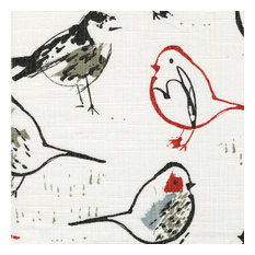 "Bird Toile Scarlet Red Chinoiserie 84"" Shower Curtain Cotton Linen Lined"
