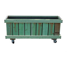 """54"""" Patio Green Transparent Stain Finished Rolling Planter"""