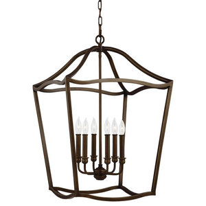 F2976/6 Yarmouth 6-Light Foyer Chandelier, Painted Aged Brass