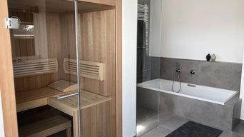 Bad mit Sauna in modernem Design