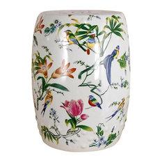 "Chinese Multi Color Porcelain Bird Motif Round Garden Stool 18"""