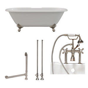 """Cast Iron Double Ended Clawfoot Tub 67""""x30"""", 7"""" Drillings BN Package"""