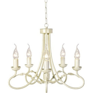 Traditional 5-Arm Chandelier, Optional Glass, Ivory-Gold