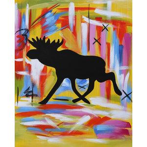 """MessyMoose"" Acrylic Painting, 80x100 cm"