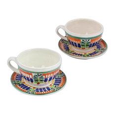 Novica Special Treat Ceramic Teacups and Saucers, Set of 2