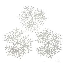 White Flocked Hanging Snowflakes, Set of 6, 23 cm