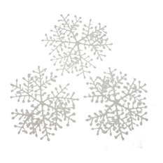 Fizzco - White Flocked Hanging Snowflakes, Set of 6, 23 cm - Christmas Ornaments