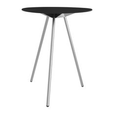 A-Lowha High Table, Black, Stainless Steel Frame