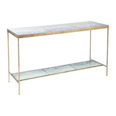 Console Solid Amethyst Antique Gold Purple Glass Shelves 2 -She