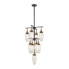 Asian  9 Light Chandelier in Oil Rubbed Bronze, Antique Brass Finish