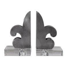 Luxe Silver Fleur De Lis Bookends Set 2   European Country French Contemporary