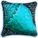 "My Island - Conch Shell Pillow, 20"" - Conch Shell Pillow Is All Cotton, Trimmed With Nautical White Braid, it will add a real POP of color to your beach house or mainland home. This lovely throw pillow is large at 20 x 20 and the cover is also machine washable!   In shades of teal, turquoise, brown, and aqua, this colorful pillow will add a nice coastal touch to any room in your house.  Perfect for living room, bedroom, or sunroom!  The conch shell art is by Gerri Hyman."