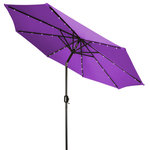 Trademark Innovations - Deluxe Solar-Powered LED Lighted Patio Umbrella, Purple, 9' - This deluxe solar LED patio umbrella measures 9' tall and provides plenty of shade on hot summer days. The canvas is 180G polyester so will stand up to the elements. Easy crank operation with a tilt option. Square solar panel at top provides a glowing light that lasts 9-12 hours (No electricity needed). Manufactured with superior quality by Trademark Innovations.