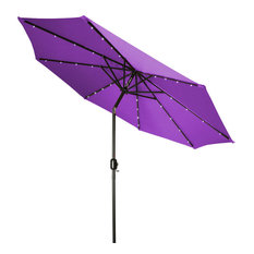 Deluxe Solar-Powered LED Lighted Patio Umbrella, Purple, 9'
