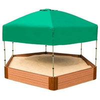 """Two Inch Series 7ft.x8ft.x11"""" Composite Hexagon Sandbox Kit With Canopy/Cover"""