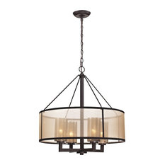 Luxe / Glam 4 Light Chandelier in Oil Rubbed Bronze Finish