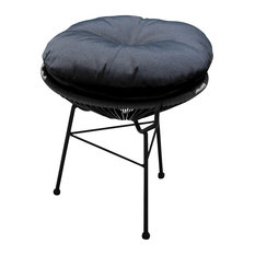 Acapulco Patio Side Table and Ottoman, Jet Black