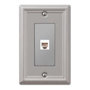 Chelsea Steel Phone Jack Wall Plate, Brushed Nickel