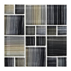 """12""""x12"""" Glass Tile Blends Watercolors Series, Charcoal"""