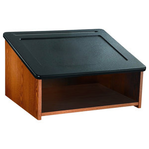 Modern Lectern Table Top, MDF With Wood Effect, Storage Compartment, Oak