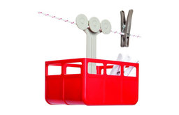 Cabina Laundry Clothespins Basket, Red/White