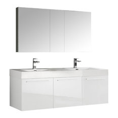"Vista 60"" White Wall Hung Double Sink Bathroom Vanity Set, Fiora Nickel Faucet"