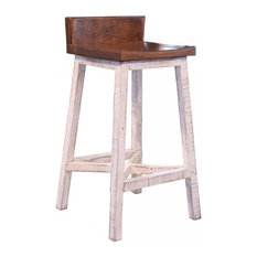 Granville Stationary Bar Stool Rustic Brown/White 30-inch Seat Height
