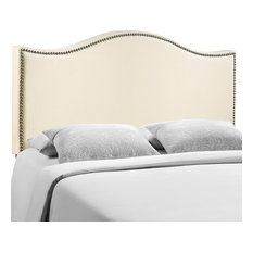Curl Queen Nailhead Upholstered Fabric Headboard Ivory