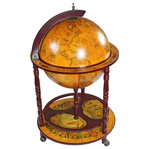 Globe Bar Cabinet with Solid Wood Frame and 3 Caster Wheels, Old Map Design