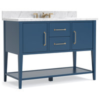 "Bergen Deep Blue Bathroom Vanity, 48"", Vanity With Carrara Marble Top"