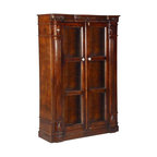 Preston Traditional Solid Wood Glass Door Barrister Bookcase