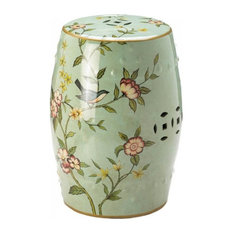 Accent Plus   Green Bird U0026 Floral Garden Decorative Stool   Accent And Garden  Stools