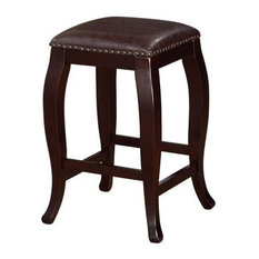 """Linon San Francisco 24"""" Wood Backless Square Top Counter Stool in Brown"""
