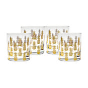 Pineapple Old Fashioned Glasses, Set of 4, 22K Gold