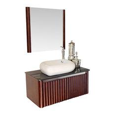 Bellaterra Home - 32.5 Inch Single Sink Vanity-Wood-Walnut - Bathroom  Vanities and
