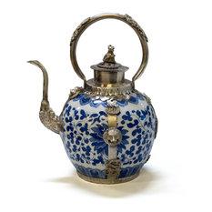 Tibetan Porcelain and Brass Teapot, White/Blue