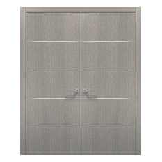 French Double Doors 60 x 80 & Hardware | Planum 0020 Grey Oak | Pre-hung Panel