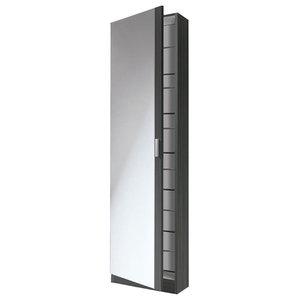 Kristal Shoe Rack With 1 Door and Mirror, Ash Grey