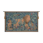 """Lion I French Tapestry, Blue, Green, 48""""x28"""""""