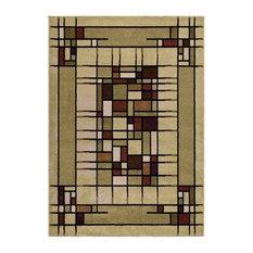 "Modern Squares Geometric Area Rug  5'2""x7'6"""
