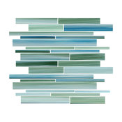 """Rip Curl Green and Blue Hand Painted Linear Glass Mosaic Tile, 12""""x12"""""""