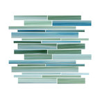 "Rip Curl Green and Blue Hand-Painted Linear Glass Mosaic Tile, 12""x12"""