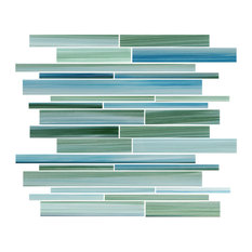 """Rip Curl Green and Blue Hand-Painted Linear Glass Mosaic Tile, 12""""x12"""""""