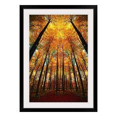 """Cathedral Fall"" Black Framed Art Print, 32""x44""x1"""