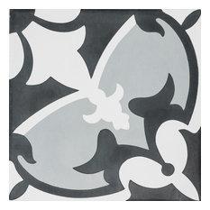 Sofia Cement Gray White Black Tile, Set of 13, 8x8
