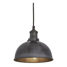 Brooklyn Dome Pendant - 8 Inch, Dark Pewter