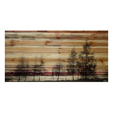 """Forest of Firs Art"" Painting Print on Natural Pine Wood, 24""x12"""