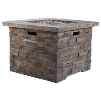 Stonecrest Outdoor Stone Finish 40,000 BTU Propane Gas Firepit, Gray/Square
